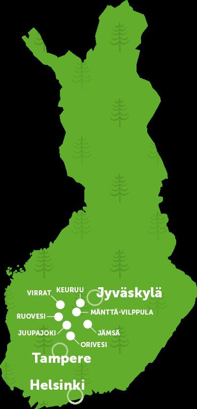 Auf der Reise in Herzen Finnlands – Karte