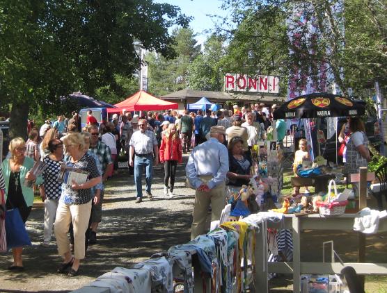 Kuvassa on ihmisiä markkinakojujen luona Längelmäveden kesäpäivillä vuonna 2015.