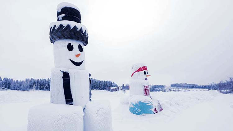 Juupajoki, snowsculpturing competition for excavator drivers