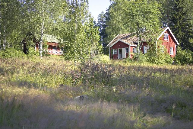 punainen talo niityllä